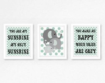 Mint and Grey Nursery Decor, You Are My Sunshine Nursery Prints, Neutral Nursery Wall Art, Gift for New Baby, Gender Neutral Nursery Prints