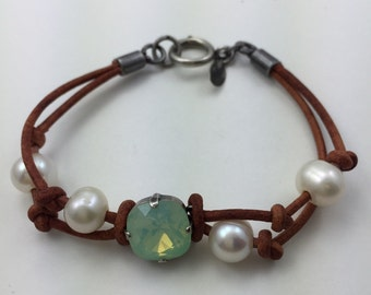 Pacific Opal Leather Bracelet