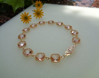 Gold Bracelet, 585 gold filled with Crystal glass, peach