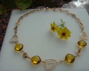 Collier gold, 585 vintag necklace with citrine quartz, beautiful and extravagant!