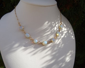 Necklace with opal glass, 585-er goldfilled