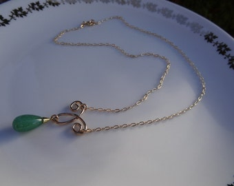 Gold chain, 585 gold filled chain with Aventurine.