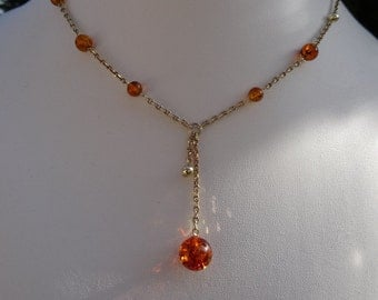 Y chain in gold 585 (14 K) with amber, very classy!