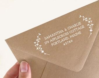 Return Address Rubber Stamp. Wedding Address Stamp. Laurel Address Stamp. Custom Rubber Stamp. Wedding Stamp. Return Address  (SADDR129)