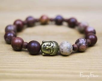 Ladies Buddha Bracelet with Apache Jasper for Grounding & Protection | Meditation Bracelet Spiritual Jewellery Buddha Jewelry Yoga Bracelet