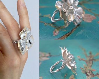 Flower ring - Sterling silver ring - Large  flower ring - Unique jewelry
