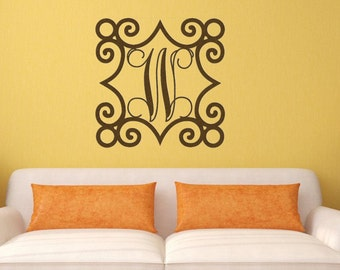 Wrought Iron Inspired Wall Art With Monogram Initial Indoor