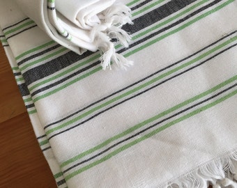 NEW - White with green and black stripes