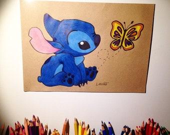 Disney Baby Stitch - Illustrated art print