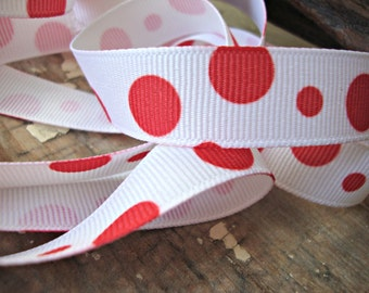 2 Yards - Red and White Polka Dot Grosgrain Ribbon