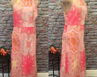 Vintage Silk Chiffon High Neck Maxi Dress In Pink, Grey And Caramel Paisley  Size Large