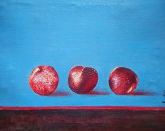 "Original oil painting by Nalan-Laluk: ""Just Peachy, Not Nietzsche"""