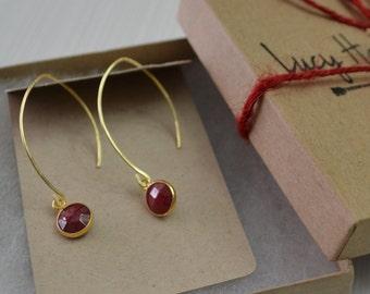 Open Hoop Ruby Earrings