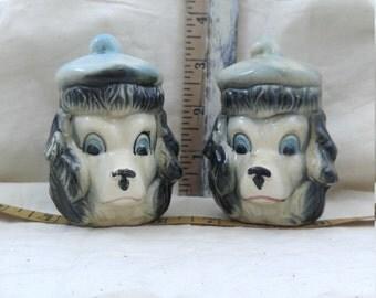 Scotty dog head salt and pepper shakers