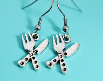 Dainty Knife and Fork Earrings Antique Silver Knife and Fork Jewelry Silver Knife and Fork Charms Chef Jewellery Chef Jewelry