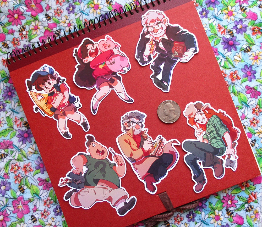 Cute gravity falls chibi stickers by catcoconut on etsy