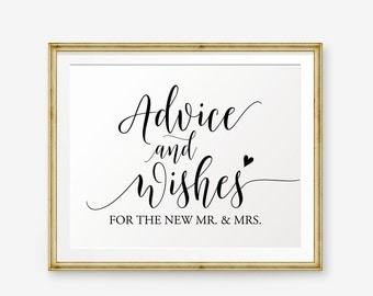 Advice and Wishes Sign Printable, Wedding welcome sign, Wedding Sign, Wedding Decor, wedding reception sign, Advice For Bride And Groom