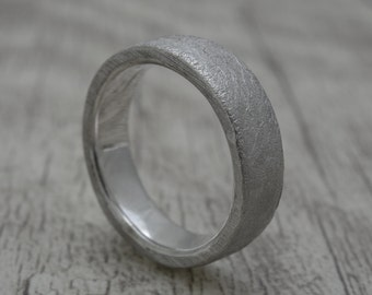 Band ring in 925 sterling silver, tree ring