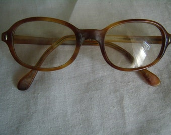 Old round glasses, Brown plastic, Made in France, Vintage 1970,