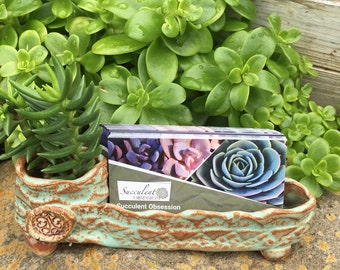 Ceramic business card holder, Textured pottery card holder, desk accessory, planter and business card holder.
