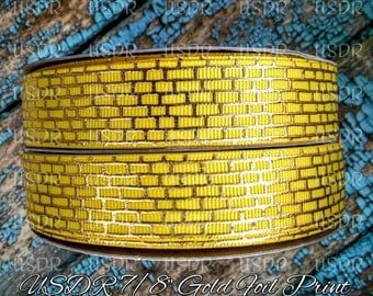 "USDR, Ribbon by the Yard, Wizard of oz inspired collection, Yellow Brick Road, US Designer 7/8"" grosgrain Ribbon, Hair Bow Supply, Crafting"