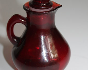 Vintage AVON Red Glass Pitcher Decanter Bottle with Strawberry Stopper 4 fl oz AVON Strawberry Glass