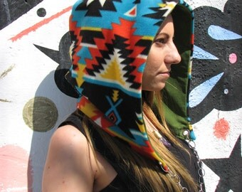 reversible grateful dead festival hood with chain, one of a kind hood, hippie hood, festi hood, festival hood, gyps