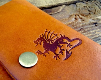 Huge SALE Half OFF -- Refillable Leather Notebook -- Dragon  -- Handmade in Portland, OR