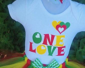 One Love Reggae Tutu Set- Red Yellow Green- Bob Marley
