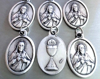 Sacred Heart of Jesus With IHS Communion Medals Double sided ITALY Set of 6  VINTAGE Style for Charm Bracelet or Pendant
