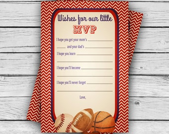 VINTAGE MVP BABY Shower Wishes for Baby Card, Girl Baby Shower, Boy Baby Shower, Party, Sports Baby Shower, Printable file or Printed