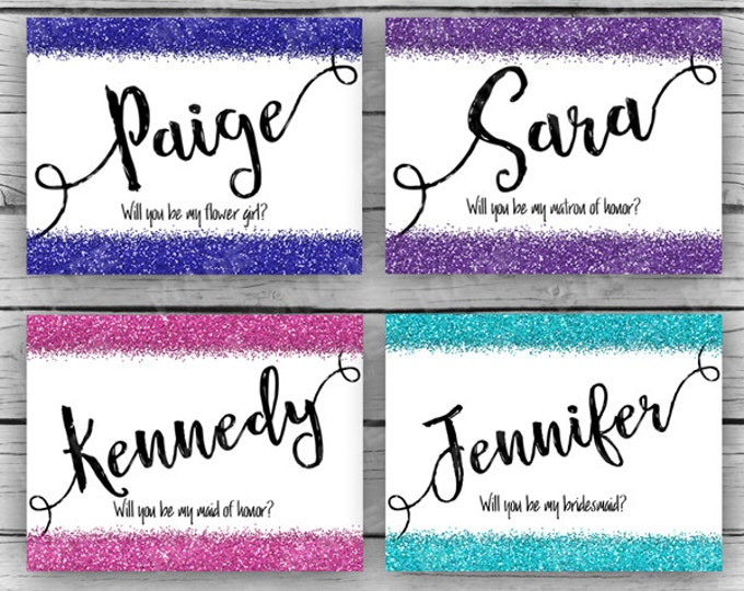Printed BRIDAL PARTY Will You Be In My WEDDING Folded Note Cards - Glitter, Wedding Note Cards, Stationery