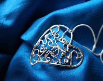 Sterling silver hand made Filigree Heart necklace. Great as a Birthday, Christmas and Wedding Gift