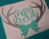 Deer Antler Bow Monogram | Deer monogram | Southern Decal | Car decal | Preppy | Monogram | Glitter Decal | Southern Girl | Bow decal