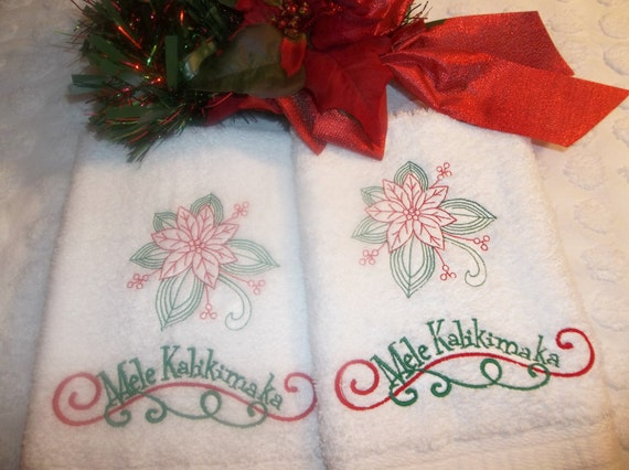 Mele Kalikimaka Hawaiian Merry Christmas Embroidered Towel