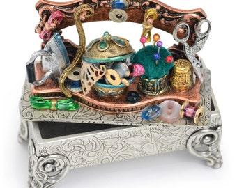 Sewing Shelf Miniature Storybox, Seamstress, Collectible Story Box, Jewelry Box, Mini Jeweled Box, Keepsake Box, Trinket, Gift for Mom BX305