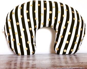 Black & White Stripe w/ Gold Dots| Handmade Slipcover for the Boppy© Nursing Pillow | Bare Naked Boppy© Pillow Cover| Nursing Pillow Cover