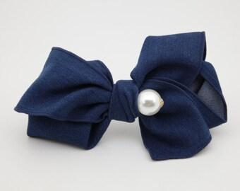 Denim bow french hair barrette