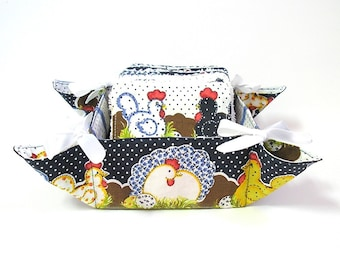 Baby wash cloths in a basket made of cotton fabric with chikens