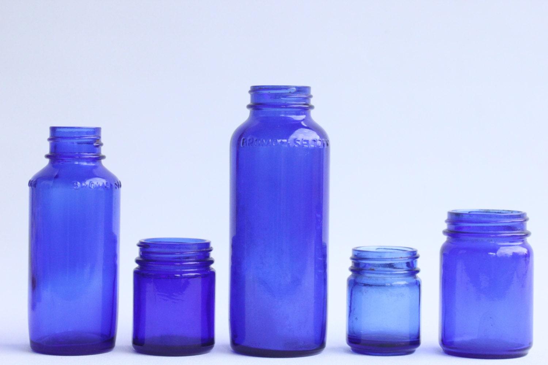 Vintage blue glass bottles for Retro glass bottles
