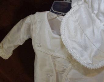 3 piece white silk suit