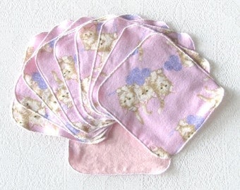 Flannel Cloth Wipes Set of 10 Kitten Wash Cloths Re-usable Wipes Kids Napkins Shower Gift
