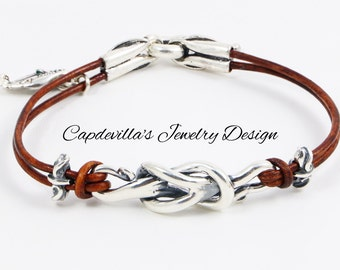 Sterling Silver and Genuine Leather Bracelet