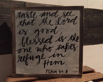 wooden signs, Psalm 24, home decor, framed wooden signs