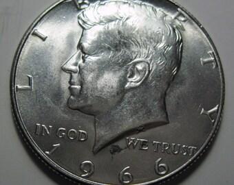 1966 silver Kennedy half dollar coin (#E113U)