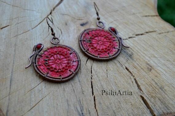 Victorian style earrings Red earrings Polymer clay earrings Copper wire earrings Copper earrings Stamp earrings Polymer clay jewelry