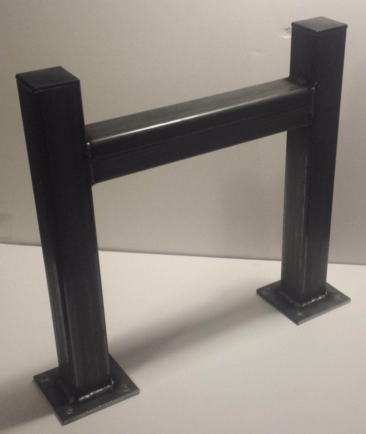 Diy square heavy duty metal tube table legs set of 2 for Square iron table legs