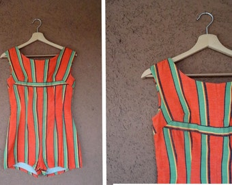 RARE! 1940's Cotton Stripped Romper - Vintage 1940's Playsuit - Size Xs