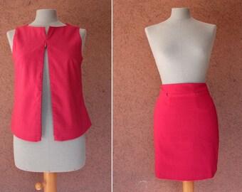 1990's La Bibliothèque 2 Pieces Skirt + Top Ensemble - 90's Red Ensemble Suits - Size S