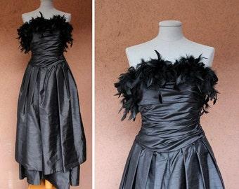 1970's Black Boa Bustier Dress - 70's Boa Bustier Prom Dress - Size S